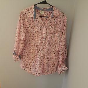 🌹 St. John's Bay Pink Floral Button Down (L)